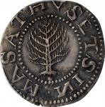 1652 Pine Tree Shilling. Large Planchet. Noe-8, Salmon 7-E, W-740. Rarity-4. Ligatured NE In Legend.