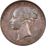 Victoria (1837-1901), Penny, 1860 over 59, young head left, rev. Britannia seated left (Peck 1521; S