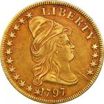 1797 Capped Bust Right Eagle. Small Eagle. BD-1, Taraszka-7. Rarity-5. EF-45+ (PCGS). Secure Holder.