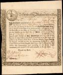 State of the Massachusetts Bay. June 2, 1777. 19 Pounds. 6% Loan due June 1, 1780. Very Fine