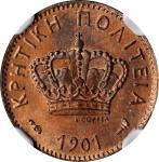 CRETE. Lepton, 1901-A. Paris Mint. NGC MS-65 Red Brown.