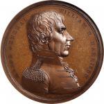 1818 Major General William Henry Harrison Medal. Bronze. 65 mm. Julian MI-14. MS-64BN (NGC).
