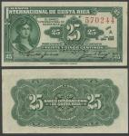 Banco Internacional De Costa Rica, 25 Centimos, 25 July 1919, serial number 570244, dark green on cr