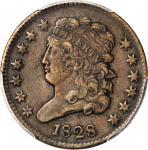 1828 Classic Head Half Cent. 13 Stars. EF-40 (PCGS).