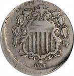 1867 Shield Nickel. Rays--Struck 10% Off Center--VF-35 (PCGS).