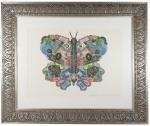 Colorful Security Printing Montage of a Butterfly. 25 x 21. Composed of engraved segments of stamps,