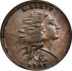 1793 Flowing Hair Cent. Wreath Reverse. S-6. Rarity-3. Vine and Bars Edge. AU-50 (ANACS). OH.