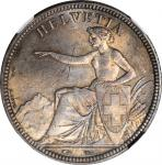 SWITZERLAND. 5 Francs, 1851-A. Paris Mint. NGC MS-65.