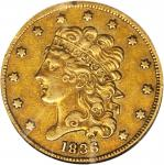 1836 Classic Head Half Eagle. McCloskey-4. Second Head, Large Close Date, Large 5. AU-55 (NGC).