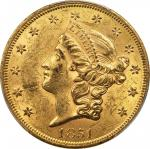 1851 Liberty Head Double Eagle. MS-60 (PCGS).