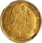 MEXICO. 4 Escudos, 1786-FM/FF. Charles III (1759-88). NGC AU-53.