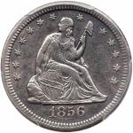 1856-S/S Liberty Seated Quarter Dollar. PCGS EF45