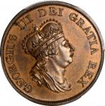 GREAT BRITAIN. Bronzed Copper 1/2 Penny Pattern Restrike, 1799. George III. PCGS PROOF-65 Gold Shiel