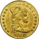 1802/1 Capped Bust Right Half Eagle. BD-2. Rarity-4+. Centered Overdate. MS-62 (PCGS).