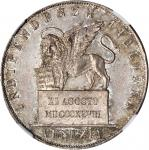 ITALY. Venice. 5 Lire, 1848. NGC MS-65.