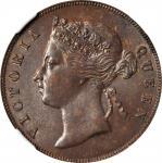 1897年海峡殖民地1分 STRAITS SETTLEMENTS. Cent, 1897. Victoria. NGC MS-63 BN.