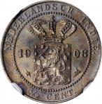 1908年荷属东印度半分。乌特勒支造币厂。NETHERLANDS EAST INDIES. 1/2 Cent, 1908. Utrecht Mint. NGC MS-64 Brown.
