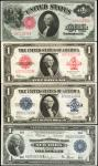 Lot of (4) Fr. 36, 40, 238, & 713. 1914 to 1923 $1. Legal Tender Notes, Silver Certificate, and Fede
