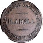 NEW ZEALAND. Christchurch. Henry J. Hall. 1/2 Penny Token, ND (ca. 1864-65). NGC EF-45 BN.