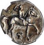 ITALY. Calabria. Tarentum. AR Didrachm (Nomos) (6.52 gms), ca. 280-272 B.C. NGC Ch EF, Strike: 5/5 S