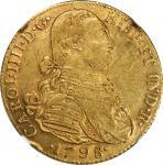 COLOMBIA. 8 Escudos, 1798-NR JJ. Nuevo Reino (Bogota) Mint. Charles IV (1788-1808). NGC AU-55.