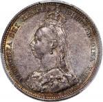 英国银币一组2枚,包括1887年1先令及1900年六便士,分别PCGS AU 58 and MS 63