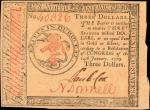 CC-89. Continental Currency. January 14, 1779. $3. Choice Very Fine.