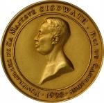 1928年柬埔寨西索瓦一世葬礼金章。CAMBODIA. Sisowath I Funeral Gold Medal, 1928. UNCIRCULATED.