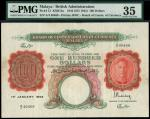 Board Of Commissioners of Currency, Malaya, 100 dollars, 1 January 1942, serial number A/4 40468, re