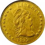1797 Capped Bust Right Eagle. Heraldic Eagle. BD-3, Taraszka-11. Rarity-5. AU-53 (NGC).