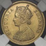 INDIA British-India イギリス領インド Mohur 1881 NGC-MS62 AU/UNC