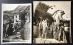 1930-1940年代中国战时新闻照片两枚: 其为重庆女学生进入防空洞上学习; 其二为空运物资往中国东北部.