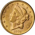 1876 Liberty Head Double Eagle. AU-58 (PCGS).