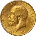 1918年印度Sovereign。孟买铸币厂。INDIA. Sovereign, 1918-I. Bombay Mint. PCGS MS-64 Gold Shield.