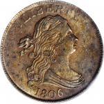1806 Draped Bust Half Cent. C-1. Rarity-1. Small 6, Stemless Wreath. MS-63 BN (PCGS).