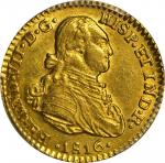 COLOMBIA. Escudo, 1816-JF. Bogota Mint. PCGS Genuine--Scratch, Unc Details Gold Shield.